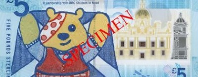 A limited edition Bank of Scotland £5 note with an image of Pudsey Bear (the icon for the annual charity fundraiser Children in Need) designed by a schoolgirl recently sold for £18,600 at auction. It not only helped raise money for the charity but also awareness of the Banks' first polymer note.