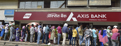 Long queues outside a bank in India after the government demonetise the country's two largest banknotes