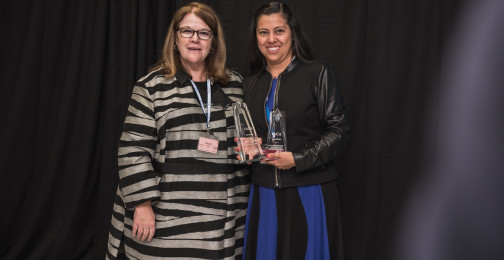 Genie Foster of IACA and Mirna Cortez of Bank of Mexico: Winner of Best Public Education Program or Website