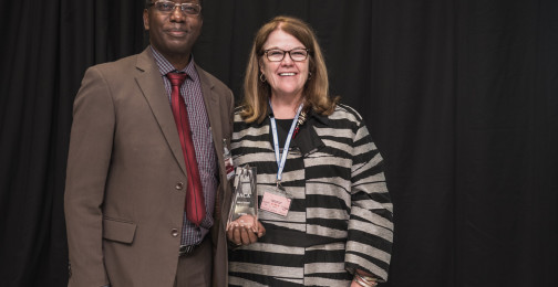 Genie Foster of IACA and Jovent Rushaka of Bank of Tanzania, Finalists of the Best New Circulating Coin
