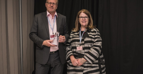 Genie Foster of IACA and Rene van Dijk of the Royal Dutch Mint, Finalists of the Best New Commemorative Coin