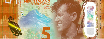 New Zealand's new polymer $5 note, part of its Brighter Money series