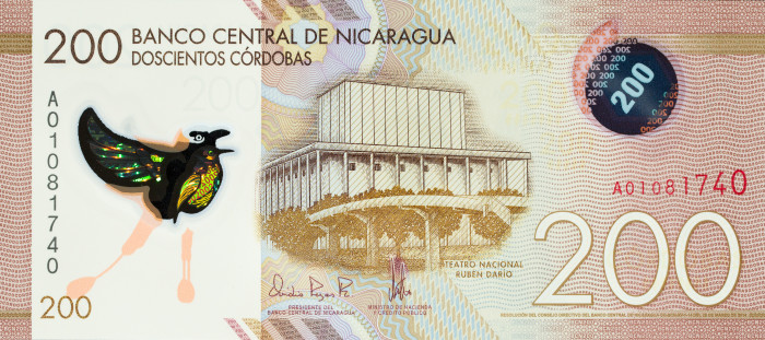 The 200 cordobas banknote