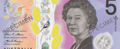 The front of the new $5 banknote