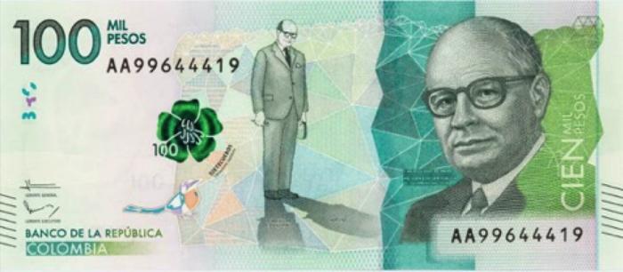 100 mil pesos note - obverse