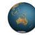 Render della Terra con la vista sulla mappa dell'Australia