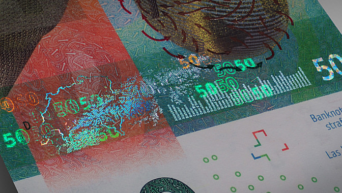 The new Swiss 50 Franc banknote featuring the two colour Kinegram Volume stripe incorporating partially metallised Kinegram.
