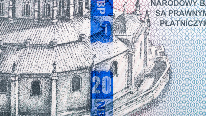 De La Rue active thread on the reverse of the 20 zloty banknote (courtesy of PWPW).