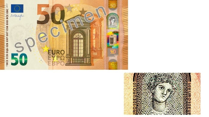 €50 banknote and portrait window showing Europa holographic image in transmission.