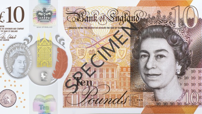 The new £10 polymer note incorporating a Kinegram Colors stripe supplied by Kurz (© the Bank of England).