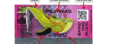 Some of the authentication features on the Philippines' tax stamp.