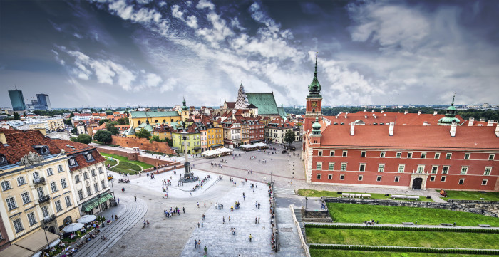 Plac Zamkowy in Warsaw old town, Poland